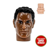 "Type S African American Male Head w/ Black Hair for Custom Mego 8"" Action Figure"