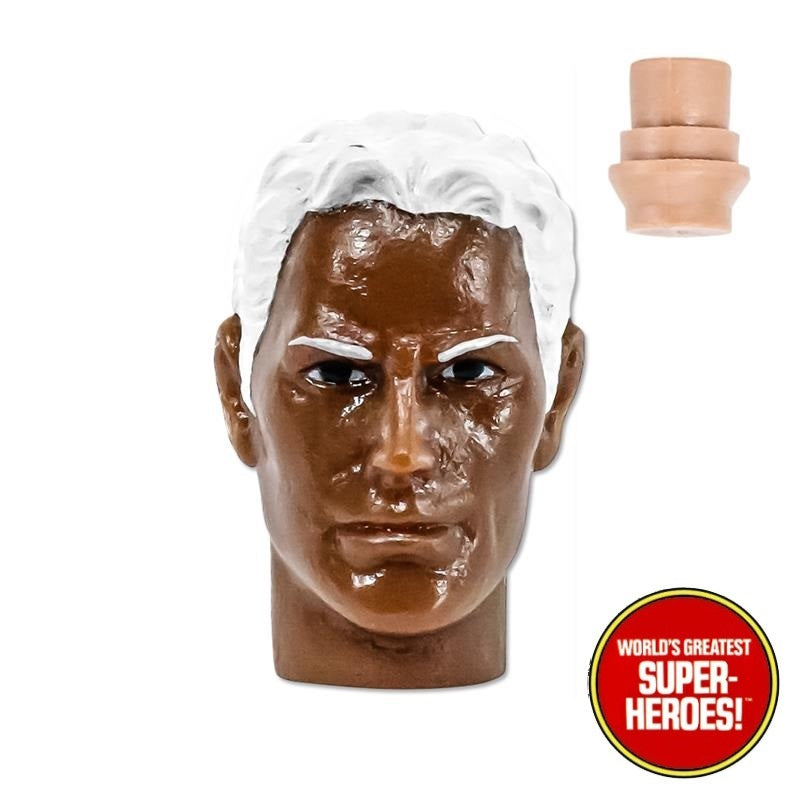 "Type S African American Male Head w/ White Hair for Custom Mego 8"" Action Figure"