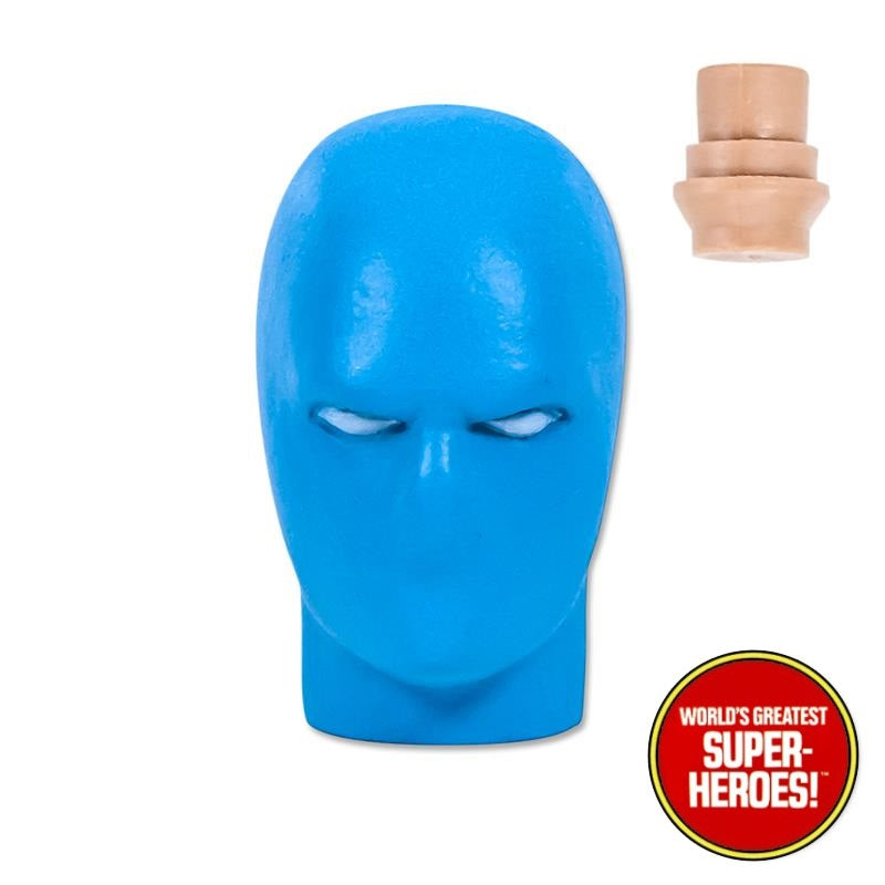 "Type S Light Blue Fully Masked Male Head for Custom Mego 8"" Action Figure"