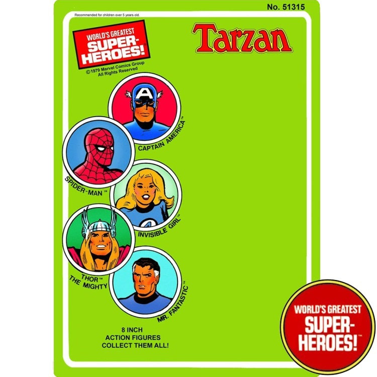 "Tarzan 1979 WGSH Custom Mego Blister Card For 8"" Action Figure - Worlds Greatest Superheroes"