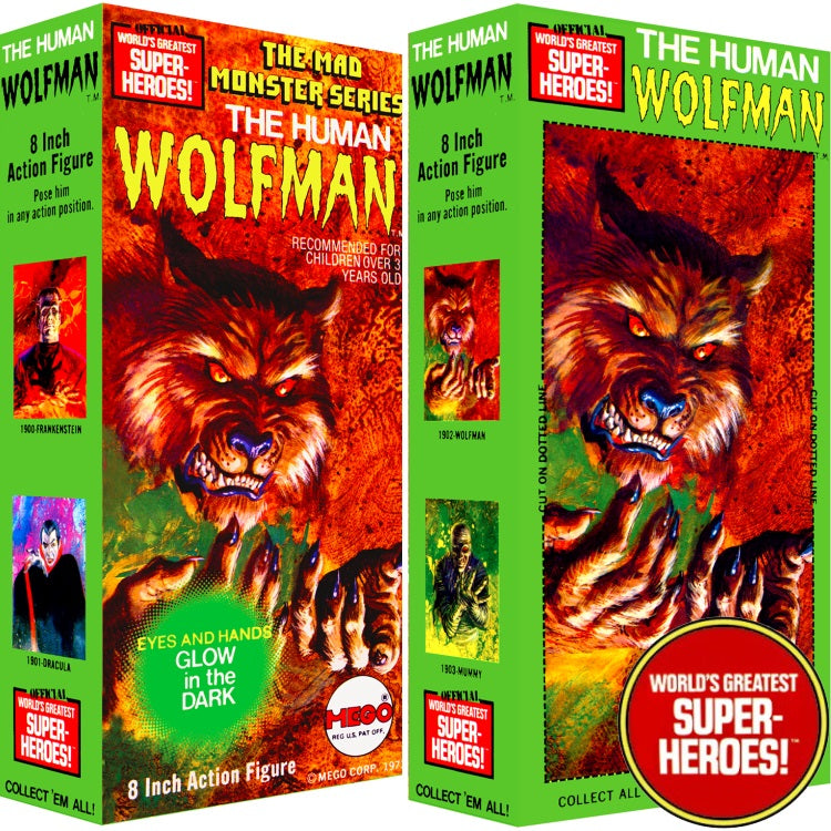 "Mad Monster: The Human Wolfman Mego Repro Solid Box For 8"" Action Figure"