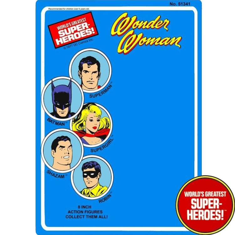 "Wonder Woman 1977 WGSH Repro Mego Blister Card For 8"" Action Figure - Worlds Greatest Superheroes"