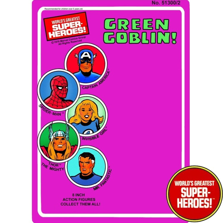 "Green Goblin 1979 WGSH Custom Mego Blister Card For 8"" Action Figure - Worlds Greatest Superheroes"