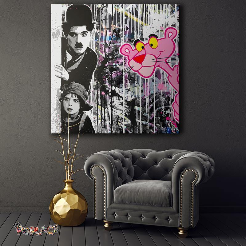Tableau Panthere Rose Charlie Chaplin
