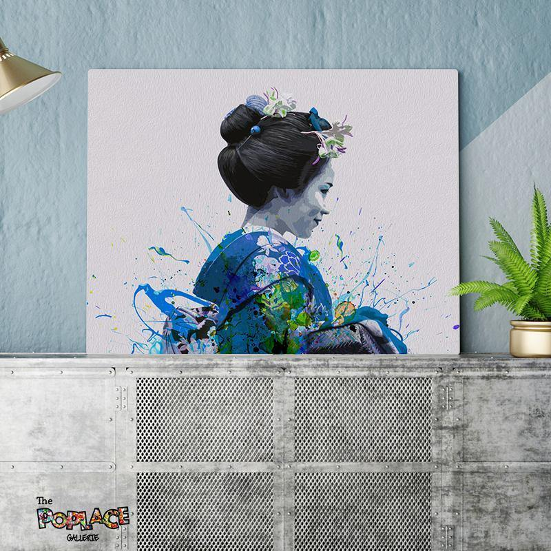 Tableau Geisha Blue Splash