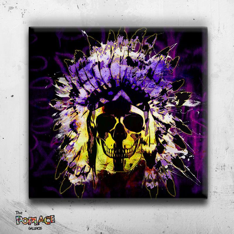Tableau Crâne Indian Skull Black Neon Face