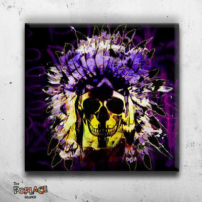 Tableau INDIAN SKULL BLACK NEON FACE