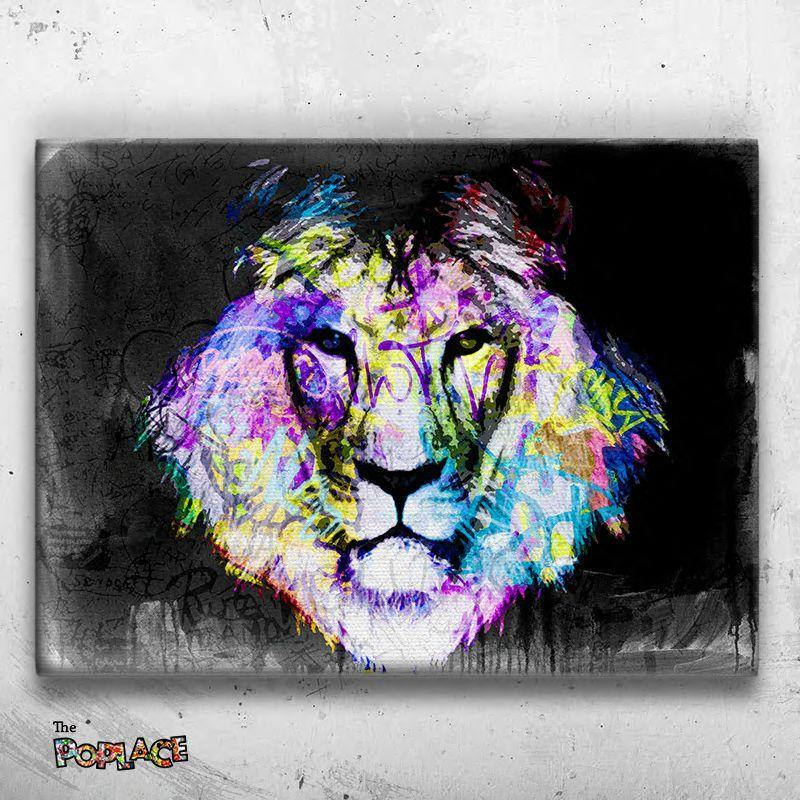Tableau Lion Dirty Graffiti