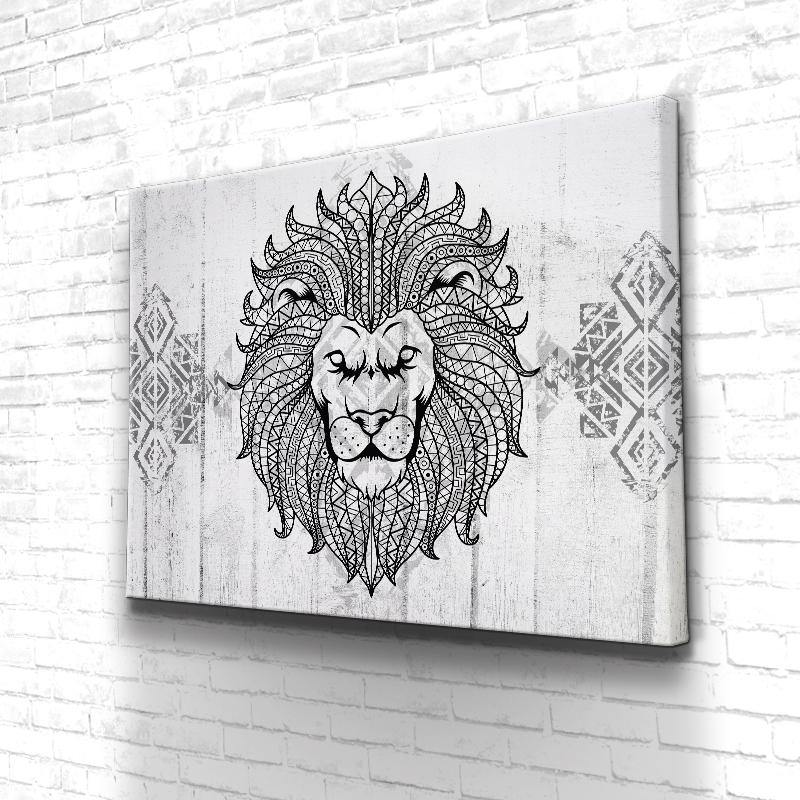 Tableau Lion Hippie Black