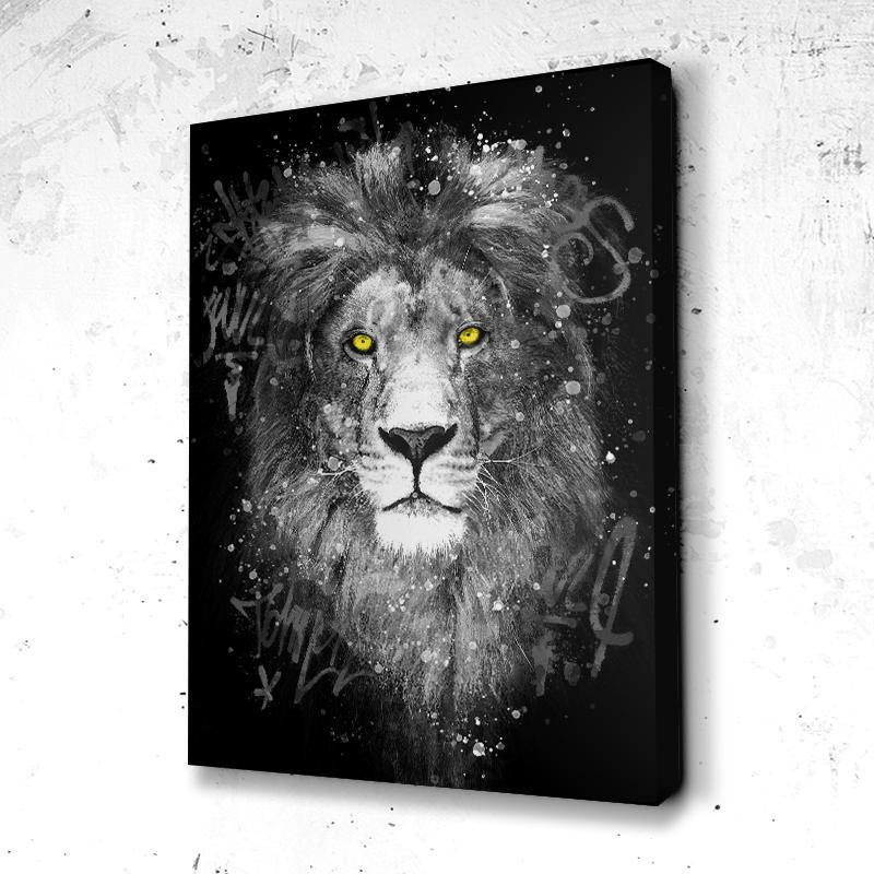 Tableau Lion Graff Art B&W