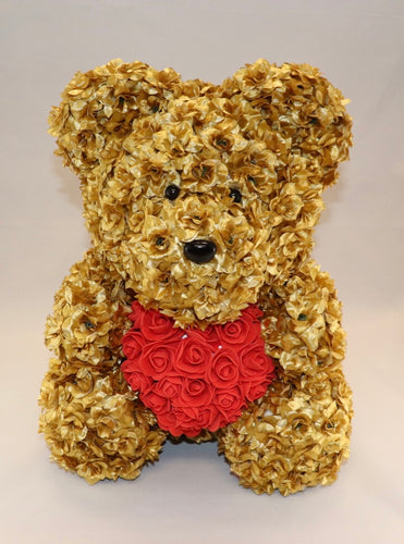 The Roseland Company Gold Teddy Bear with Red Heart (big size)