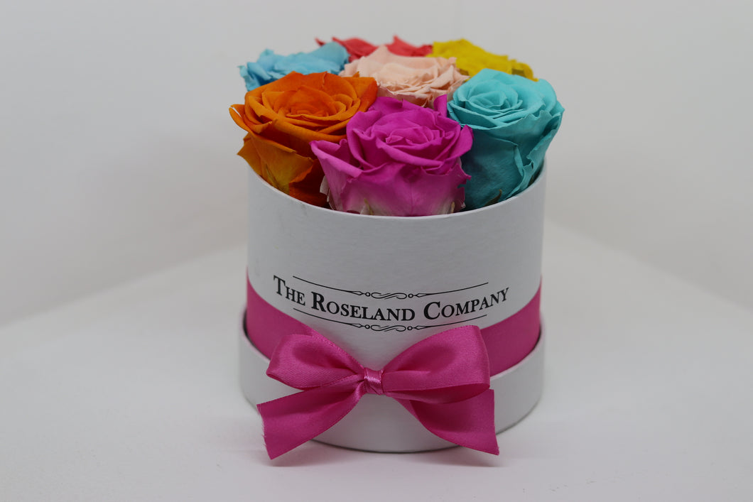Mixed Eternity Roses, Mini Round Box