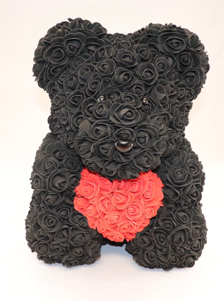 The Roseland Company Black Teddy Bear with Red Heart (big size)