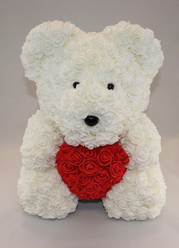 The Roseland Company White Teddy Bear with Red Heart (big size)