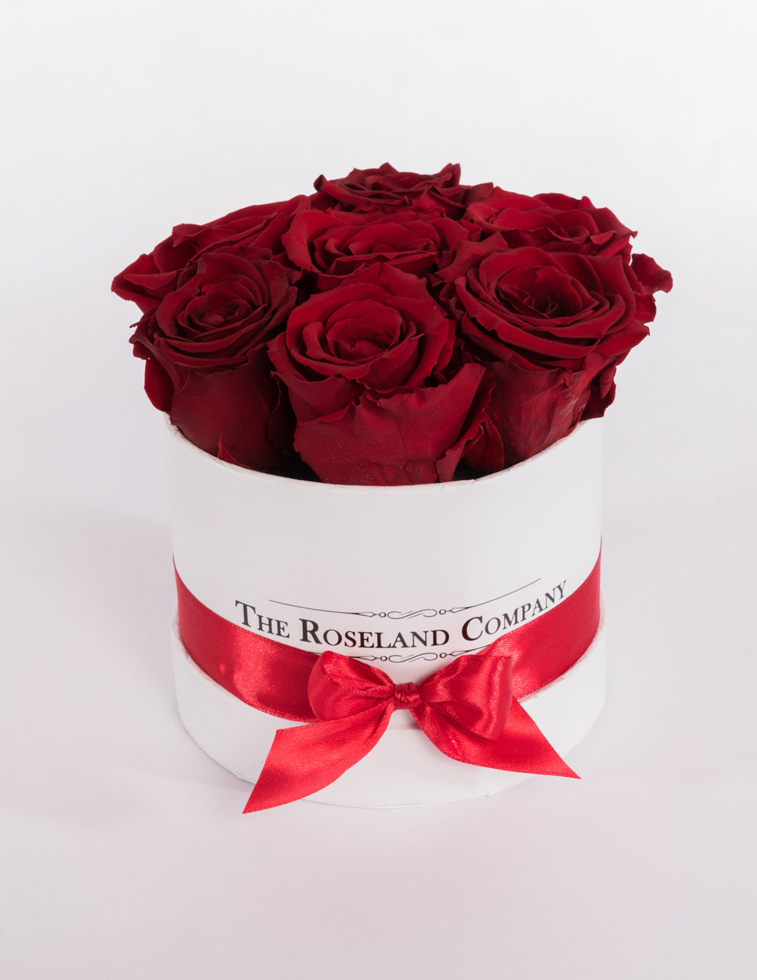 The Roseland Mini White Round Box - Red Eternity Roses