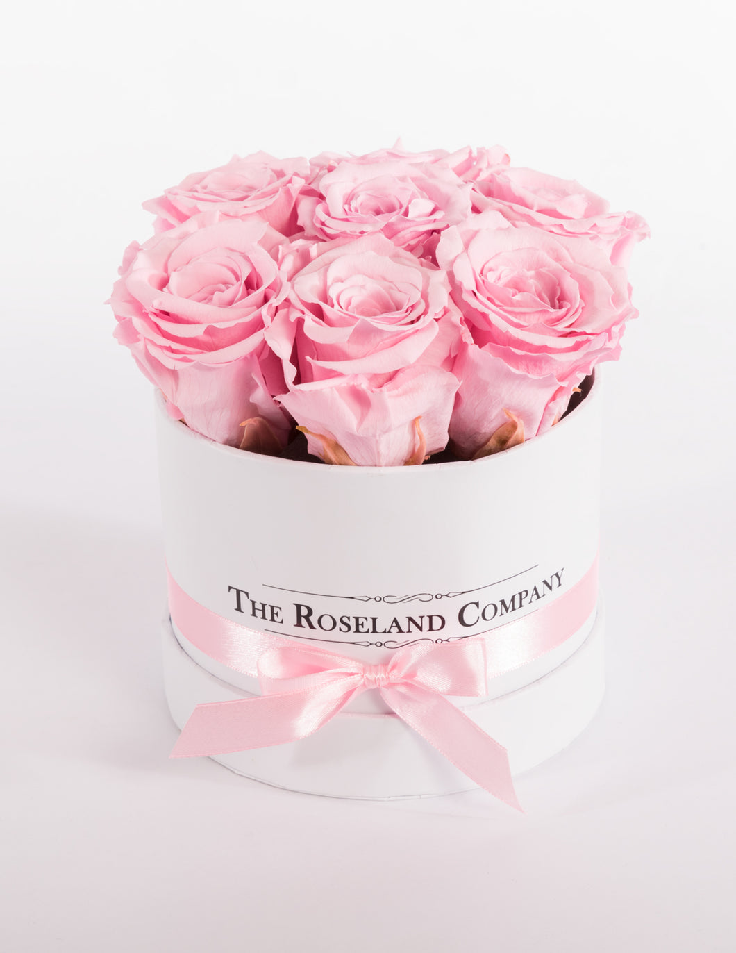 The Roseland Mini White Round Box - Pink Eternity Roses