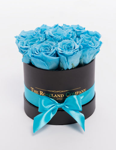 The Roseland Mini Black Round Box - Light Blue Eternity Roses