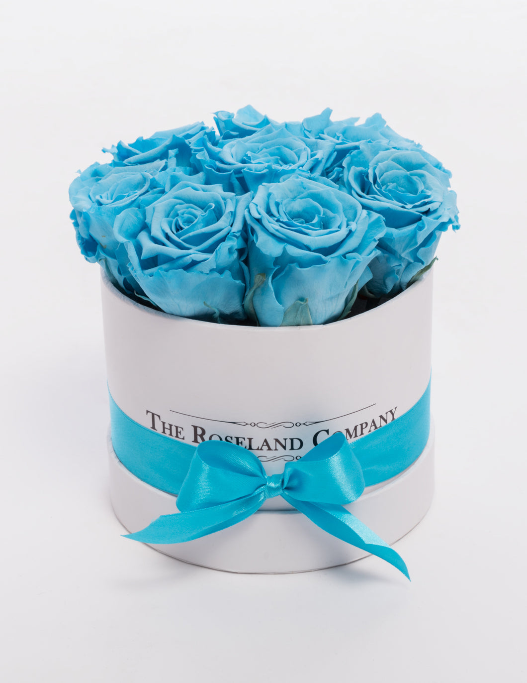 The Roseland Mini White Round Box - Light Blue Eternity Roses