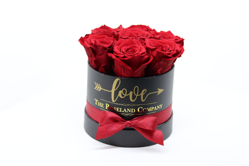 Red Eternity Roses, Black Mini Round Box with Love engraving