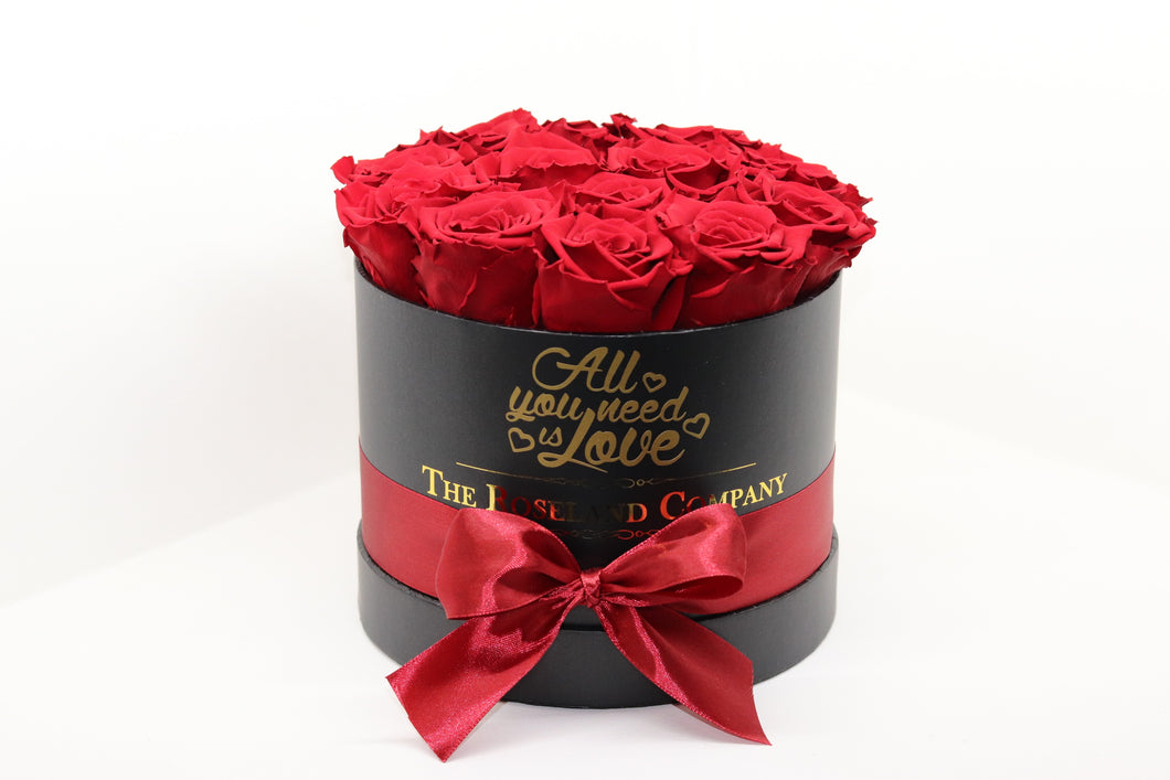 Red Eternity Roses, Black Small Round Box with Love engraving