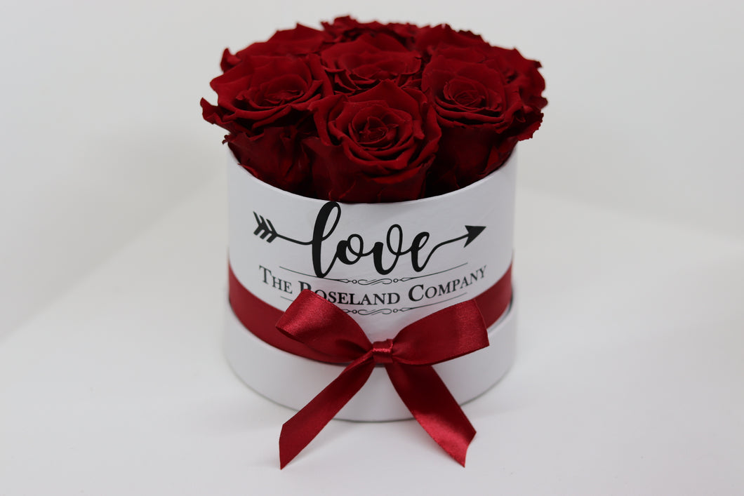 Red Eternity Roses, White Mini Round Box with Love engraving