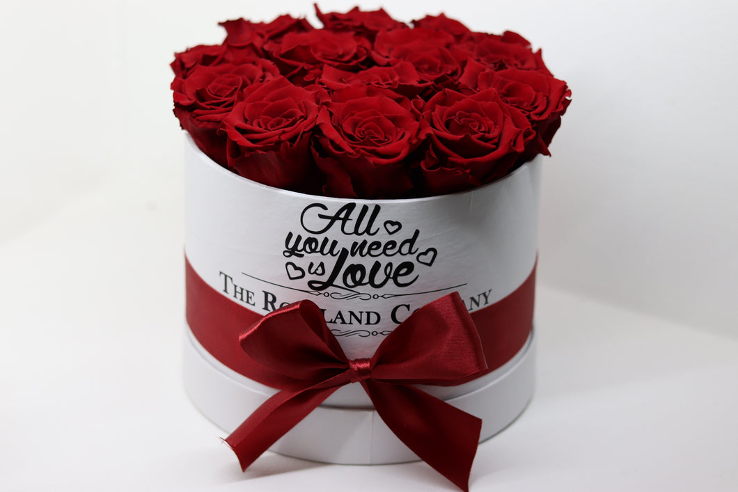 Red Eternity Roses, White Small Round Box with Love engraving