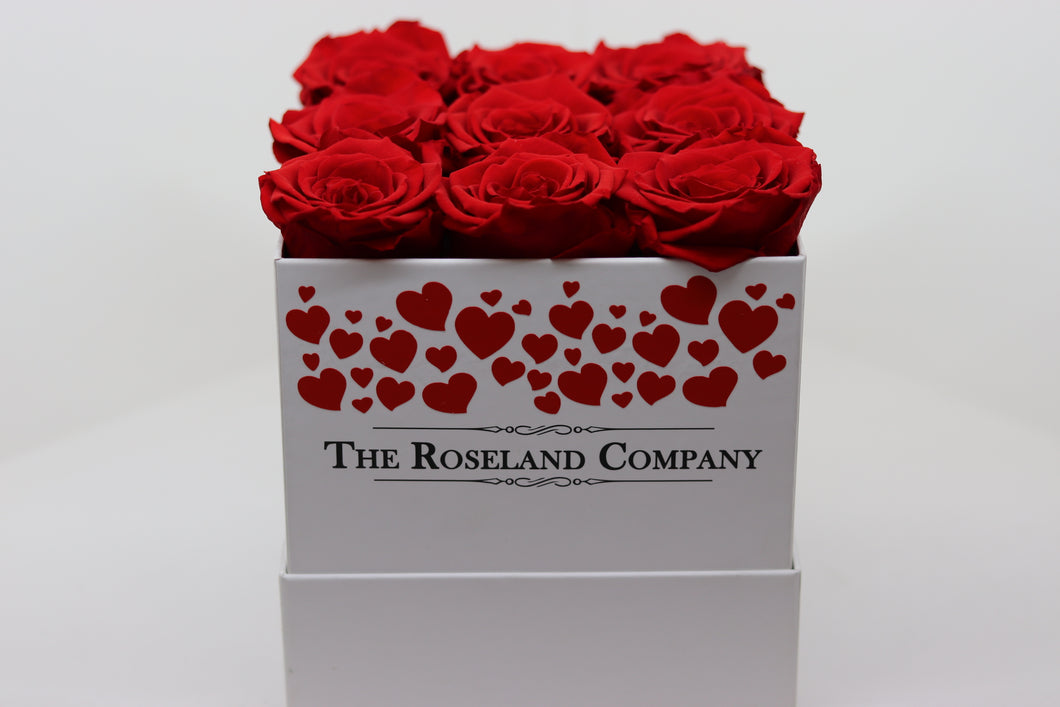 Red Eternity Roses, White Cube Box with hearts engraving