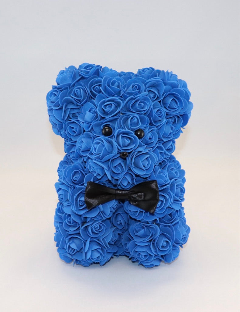 The Roseland Company Dark Blue Teddy Bear with Bow
