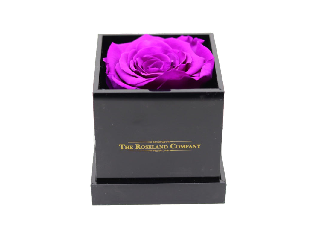 BLACK Small Cube Box with PURPLE Eternity Rose