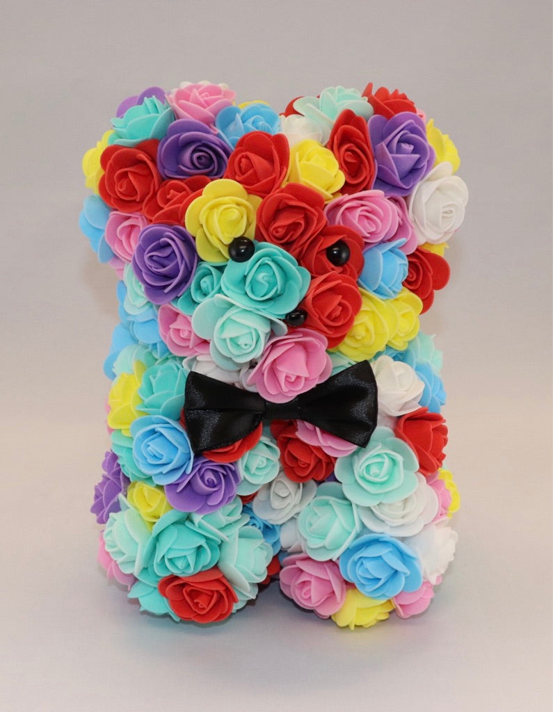 The Roseland Company Rainbow Teddy Bear with Bow