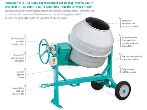 IMER Workman Wheelman and Minuteman Barrel Mixers for Concrete, Mortar, & Stucco