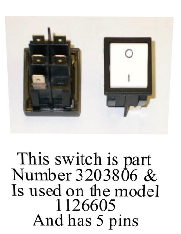 Part Number 3203806 - ON/OFF White Rocker SWITCH for IMER Minuteman and Wheelman Electric Mixers