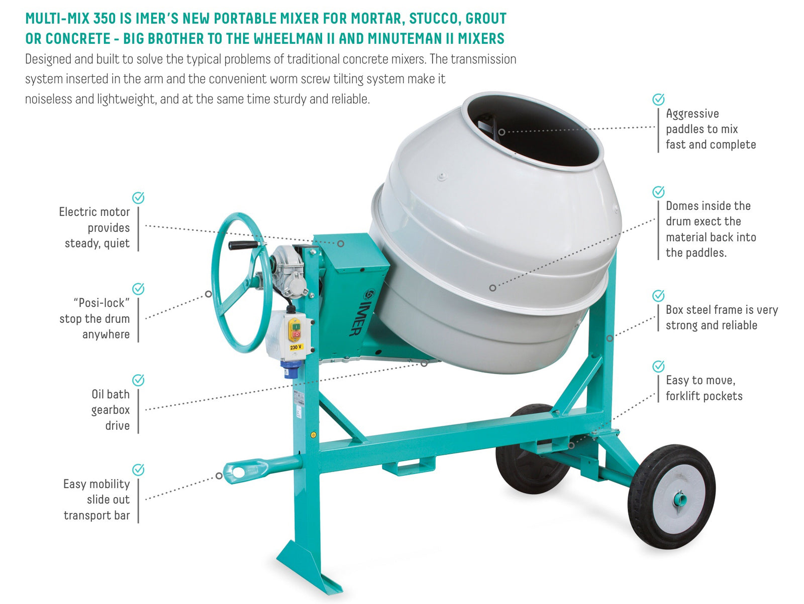 IMER Multi MIX 350 Syntesi - Portable 110volt Electric Mixer for Concrete, Mortar, & Grout.