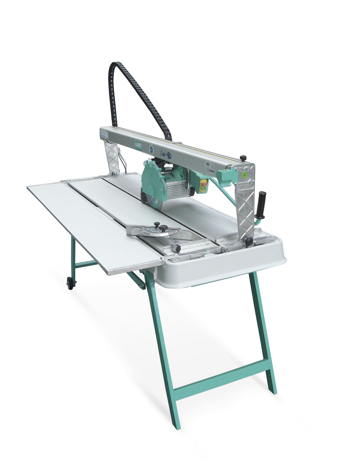 "IMER Combi 250/1500 10"" blade 57"" cutting length precision ultra large format tile and slabe saw tilts to miter cut with side table and stand"