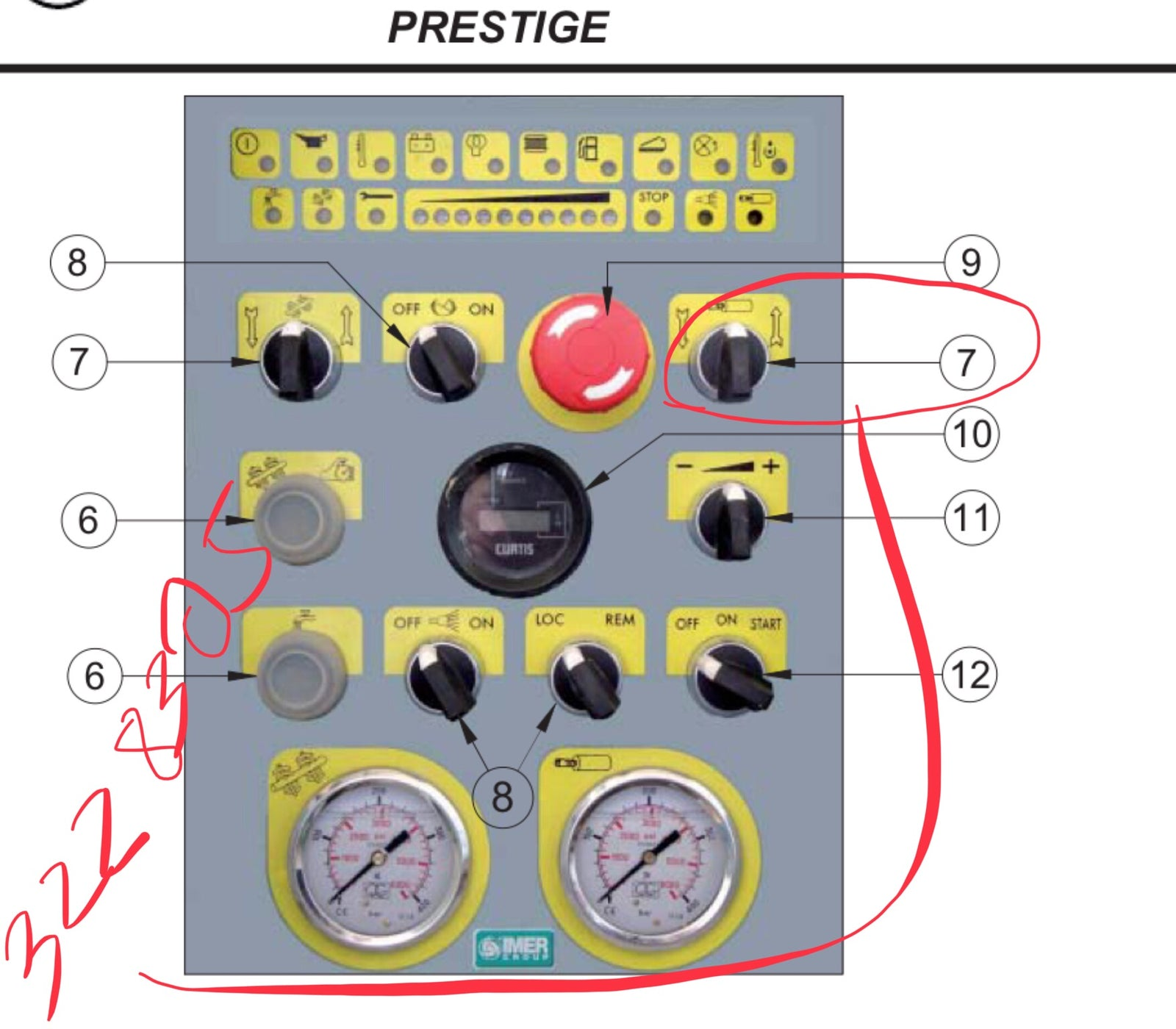 IMER Part Number 3228305. R/S Forward and Reverse Switch  ( 2 position) on Control Panel IMER Prestige Pump