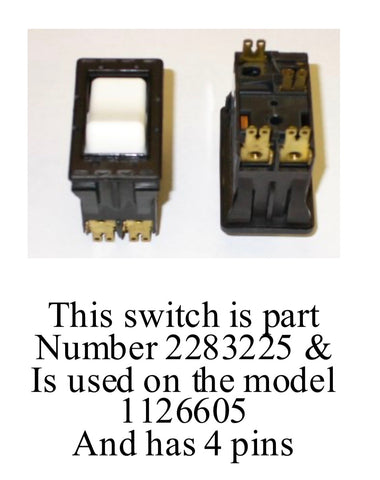 Part Number 2283225 ( No Longer Available)  - ON/OFF White Rocker SWITCH for IMER Minuteman and Wheelman Electric Mixers