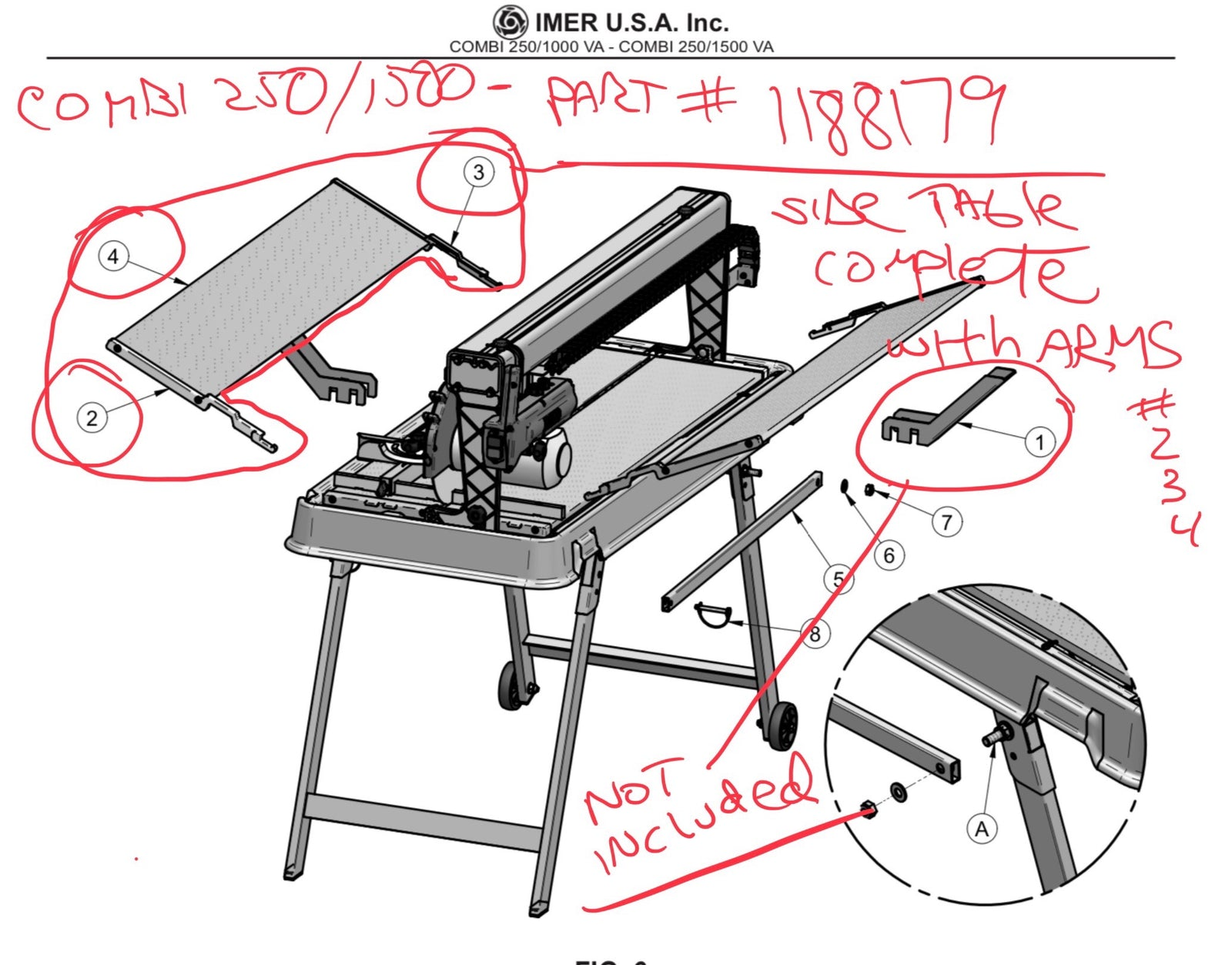 Part Number 1188179 - Side Table Complete with arms for IMER Combi 250/1500 Ultra Large Format Tile Saw