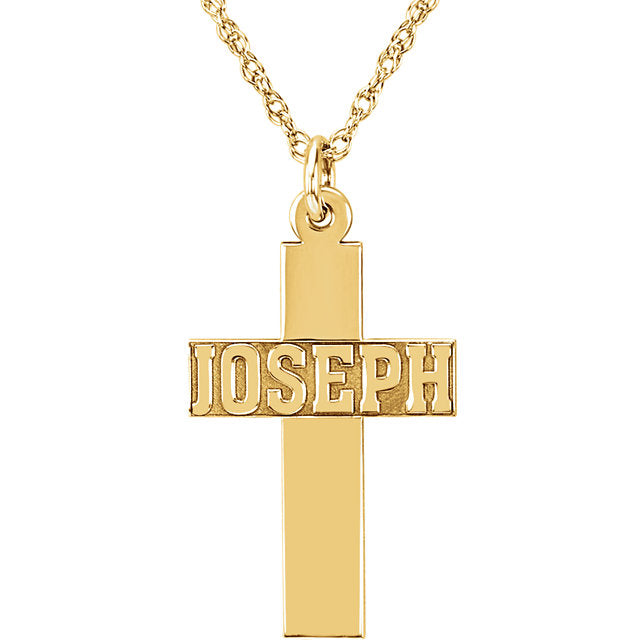 10K Yellow Nameplate Cross Necklace