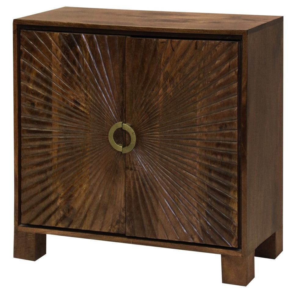Starburst Embossed Cabinet made of Solid Mango Wood