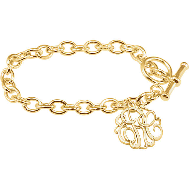 14K Yellow Gold-Plated Sterling Silver with 20mm 3-Letter Script Monogram Charm Bracelet