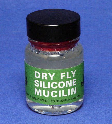 Mucilin Silicone Liquid Dry Fly Floatant in Hourglass Bottle