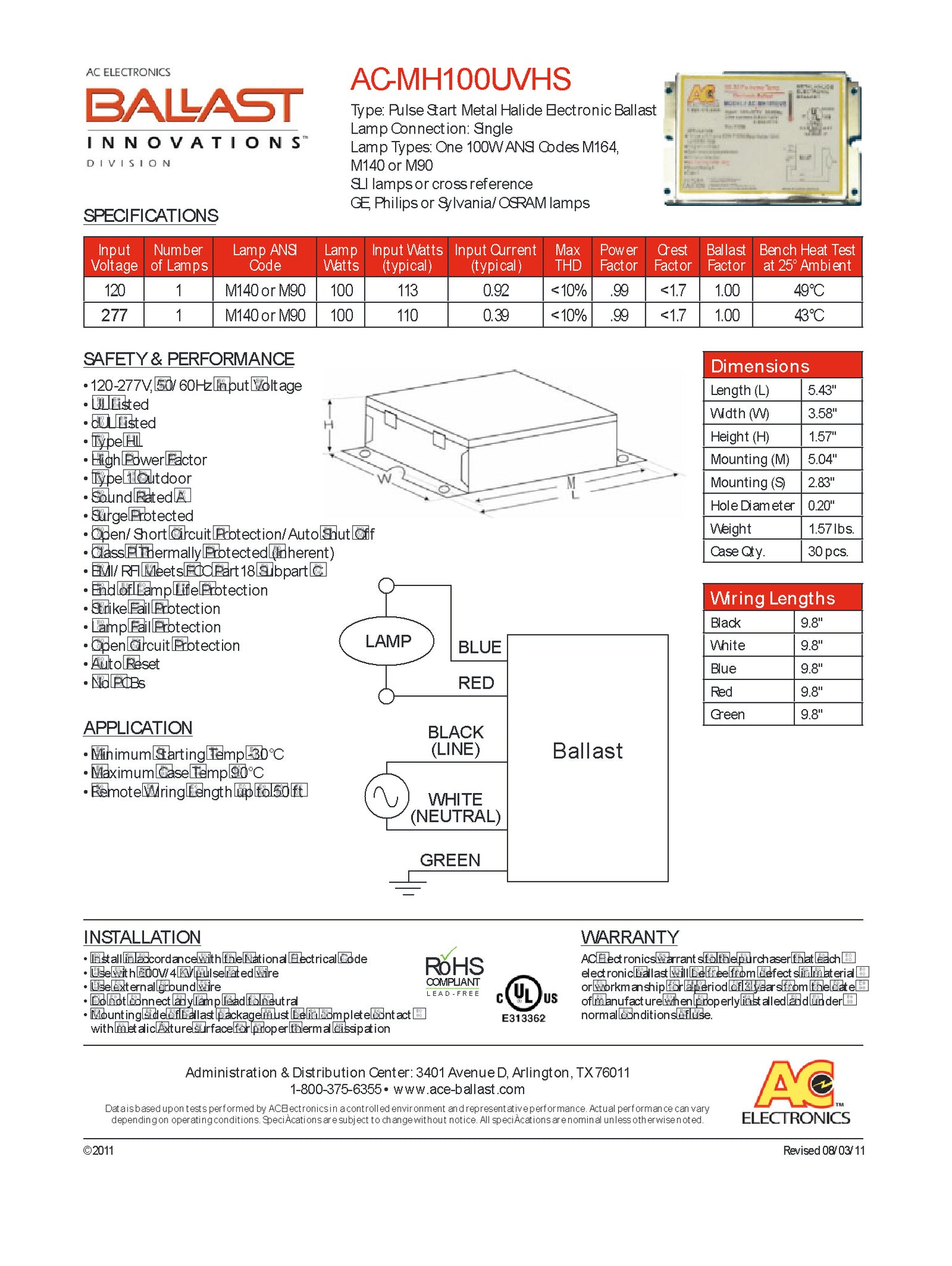 Ac Ballast Mh100uvhs 1 Lamp 100w Electronic Metal Halide Hid Light 277v Electrical Wiring Diagrams This Runs M164 M140 M90 At 120