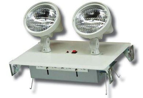2 Head Recessed Emergency Fixture w/Battery & Remote Capability, 120/277V