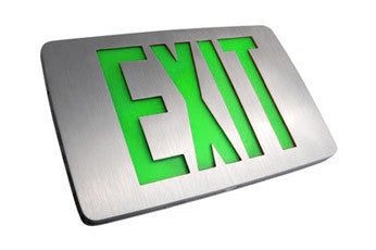 Thin Die Cast, SF Green/Red, AC only/Battery Backup Exit Sign LED