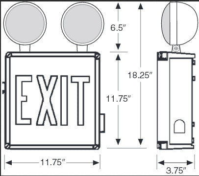 Wet location combo  single face led exit/emergency light green/red letters, 120/277v