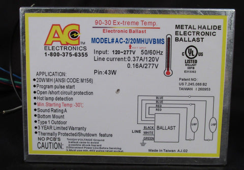 AC Ballast AC-2/20MHUVBMS - 2 lamps - 20w Electronic Metal Halide HID Ballast - 120/277v - Bottom Mount - Stud to Stud: 2in