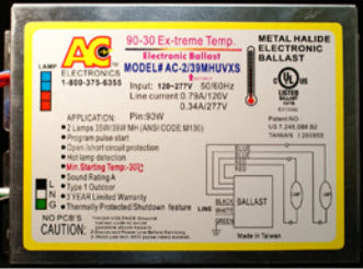 AC Ballast AC-2/39MHUVBMXS - 1 lamp - 35/39w Electronic Metal Halide HID Ballast - 120/277v - Bottom Mount