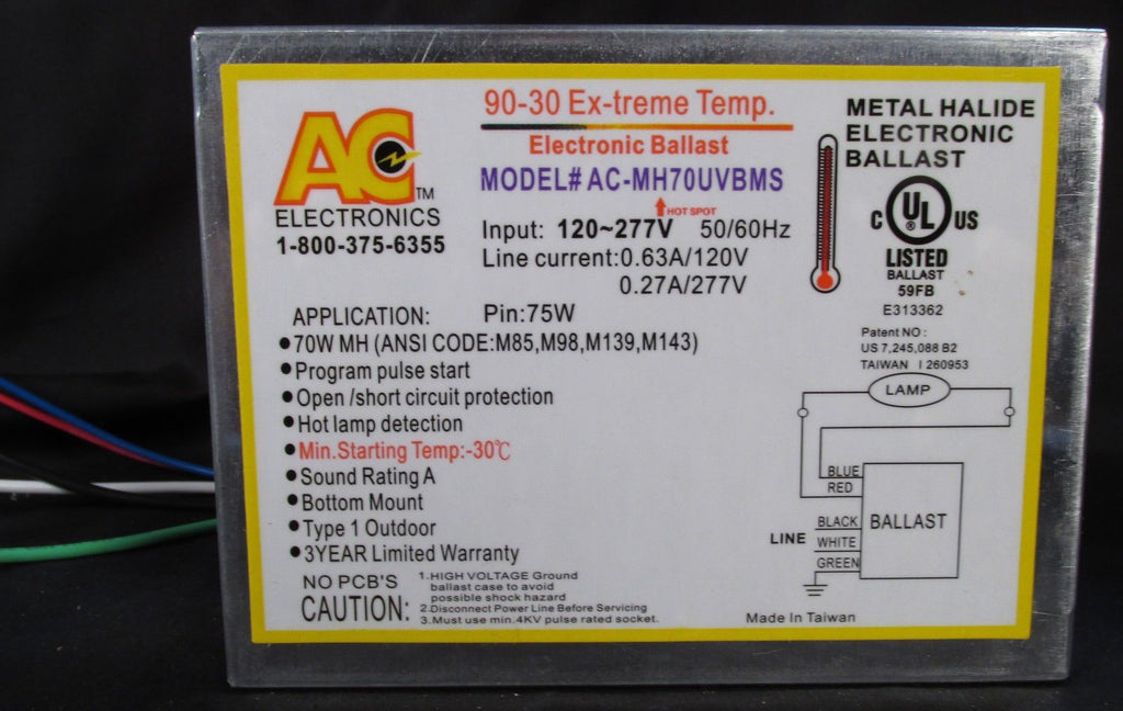 AC Ballast AC-MH70UVBMS - 1 lamp - 70w M143/M139/M98/M85 HID lamp - 120/277v - Bottom Mount - Stud to Stud: 2in