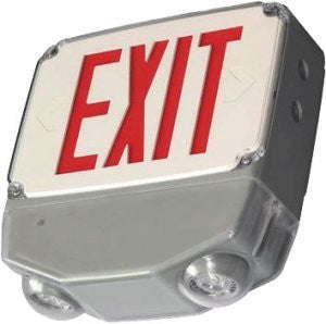 Wet Location Exit & Emergency Combo. Single/Double face red letters optional housing (White, Gray, Black)