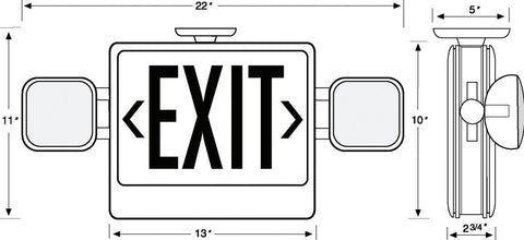 LED Combo Exit/Emergency Light - Single or Double - Green Letters 120V/277V